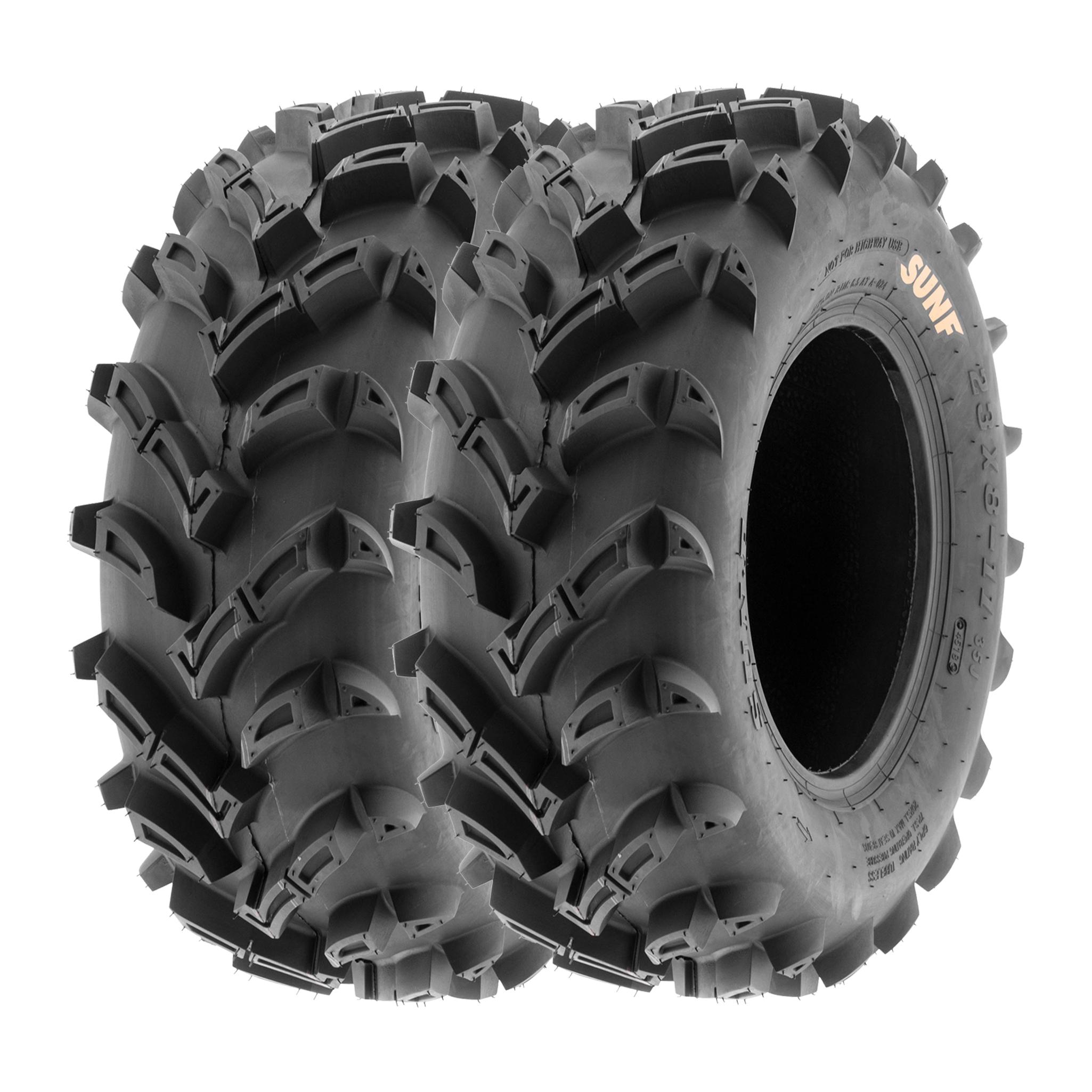SUNROAD Set of 4 All Terrain ATV UTV Tires 25 25x8-12 Front /& 25x10-12 Rear 6PR Deep Mud Tubeless